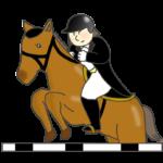 障害馬術のイラスト(女性騎手)