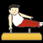 あん馬の演技をする男子体操選手のイラスト