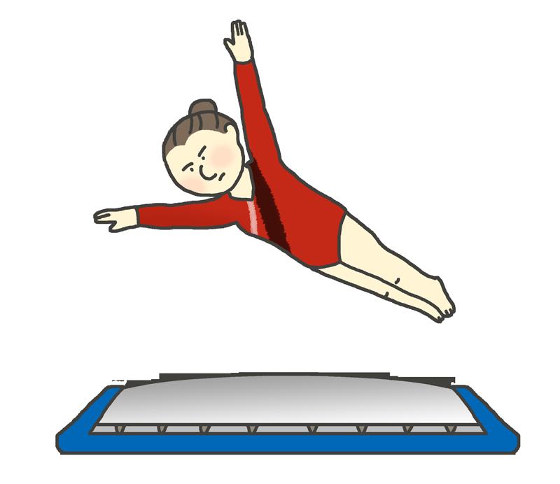 トランポリン体操選手のイラスト(女性)