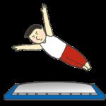 トランポリンを飛ぶ体操選手のイラスト(男性)