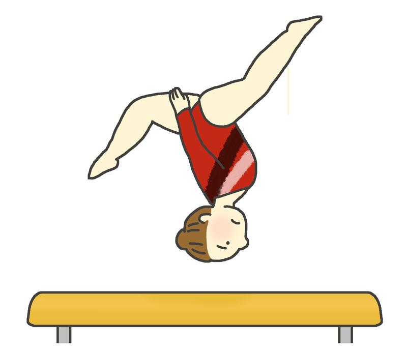 平均台の演技をする女子体操選手のイラスト