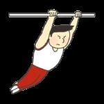 鉄棒の演技をする男子体操選手のイラスト