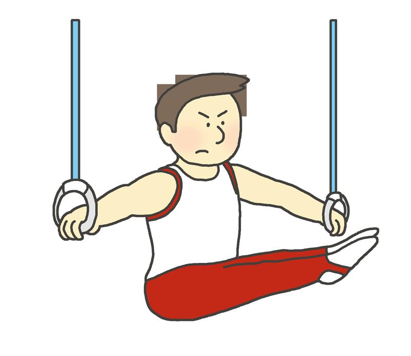 吊り輪の演技をする男子体操選手のイラスト