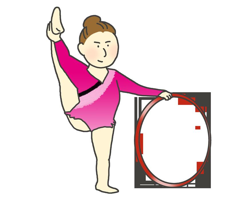 フープの演技をする体操選手(女性)のイラスト