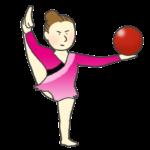 新体操のボールの演技(女性)のイラスト