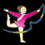 リボンの演技をする新体操選手(女性)のイラスト