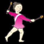 新体操のクラブの演技をする女子選手のイラスト