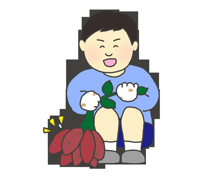 芋掘りのイラスト
