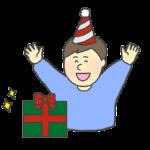クリスマスプレゼントを貰って喜ぶ男の子のイラスト