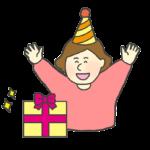 プレゼントを貰って喜ぶ女の子のイラスト