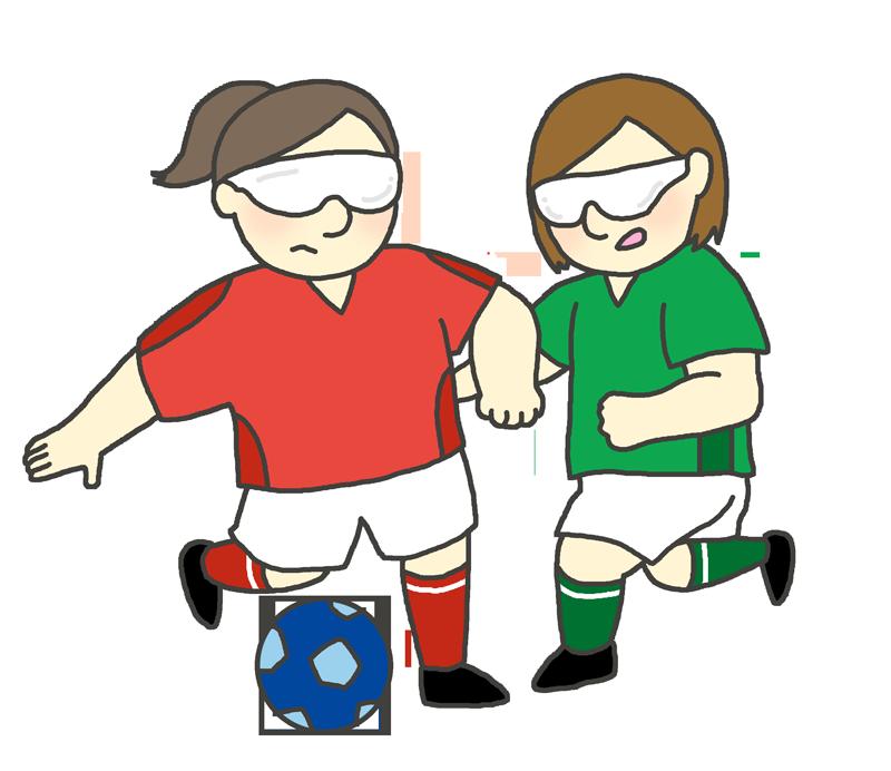 視覚障害五人制サッカーのイラスト(女性)