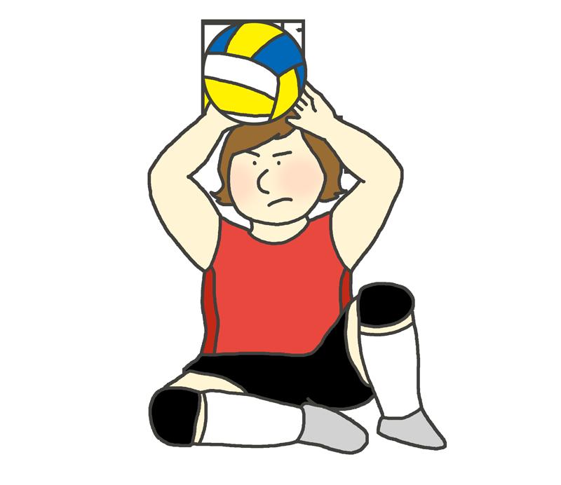 シッティングバレーボールのイラスト(女性)