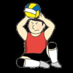 シッティングバレーボールのイラスト(男性)