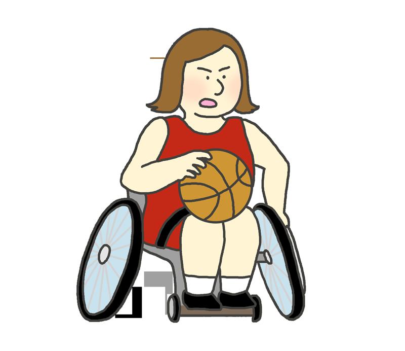 車椅子バスケットボールのイラスト(女性)