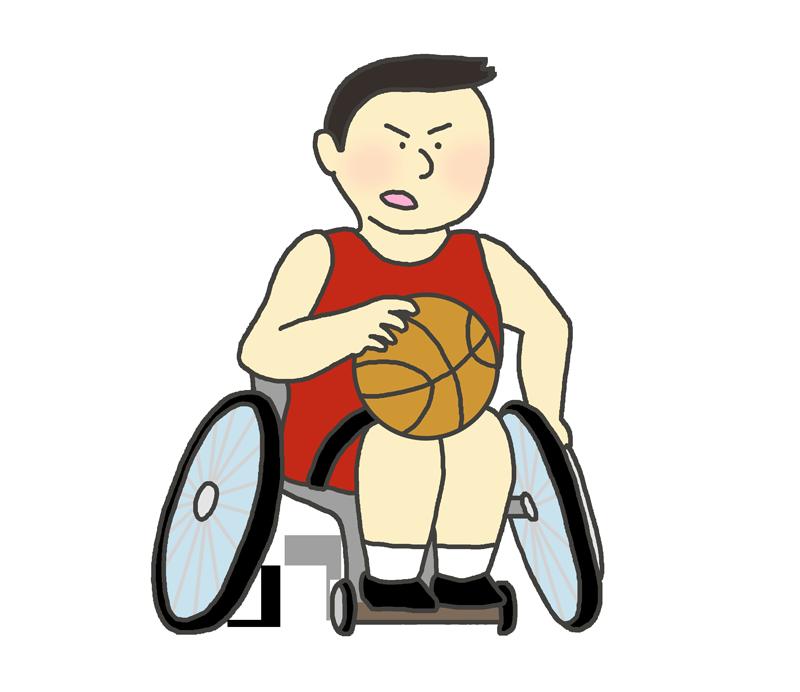 車椅子バスケットボールのイラスト(男性)