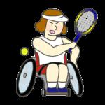 車いすテニスのイラスト(女性)