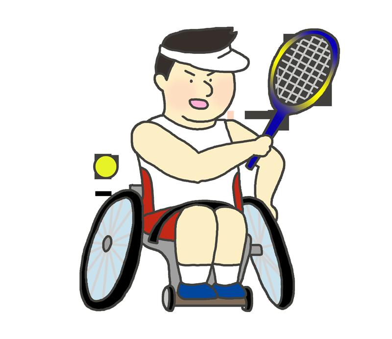 車いすテニスのイラスト(男性)