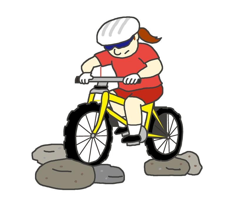 女子マウンテンバイク選手のイラスト