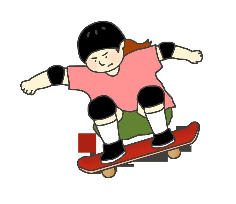 スケートボードのイラスト(女性)
