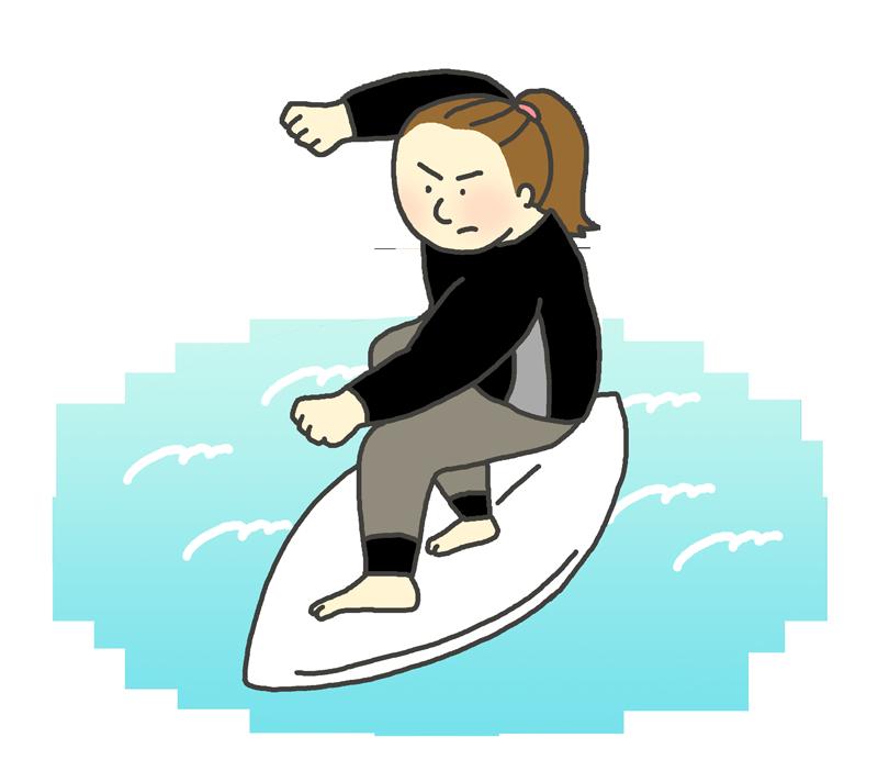サーフィンのイラスト(女性選手)