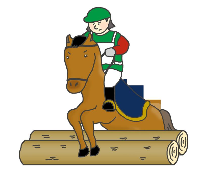 馬術のクロスカントリーのイラスト(女性騎手)