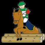 馬術のクロスカントリーのイラスト(男性騎手)