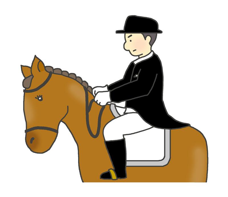 馬場馬術のイラスト(男性騎手)