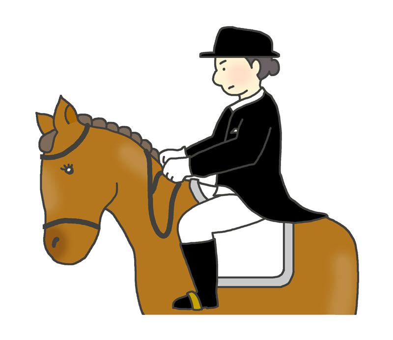 馬場馬術のイラスト(女性騎手)