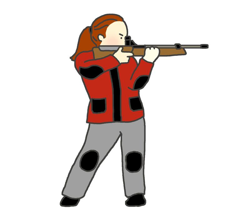 ライフル射撃の立射のイラスト(女性)