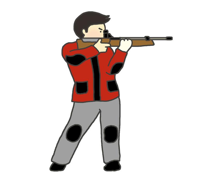 ライフル射撃の立射のイラスト(男性)