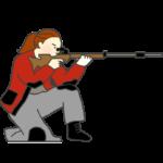 ライフル射撃の膝射のイラスト(女性)