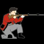 ライフル膝射のイラスト(男性)