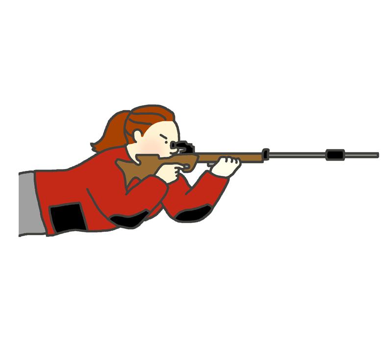 ライフル伏射のイラスト(女性)