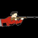 ライフル伏射のイラスト(男性)