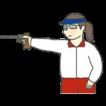 ピストル射撃のイラスト(女性)