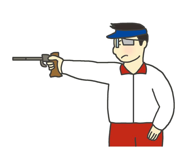 ピストル射撃のイラスト(男性)
