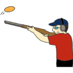 クレー射撃をする男性選手のイラスト