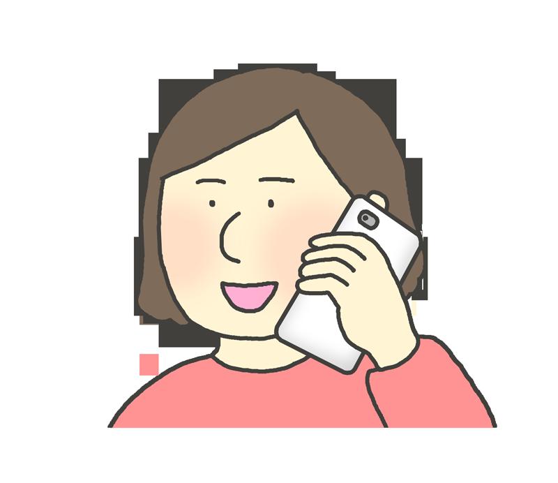 スマホで電話する女性のイラスト