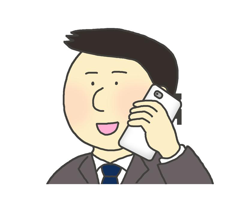 電話をするスーツ姿の男性のイラスト