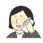 電話をするスーツ姿の女性のイラスト