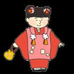 七五三のイラスト(着物を着た三歳の女の子)