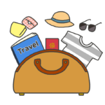 荷物が詰まった旅行カバンのイラスト