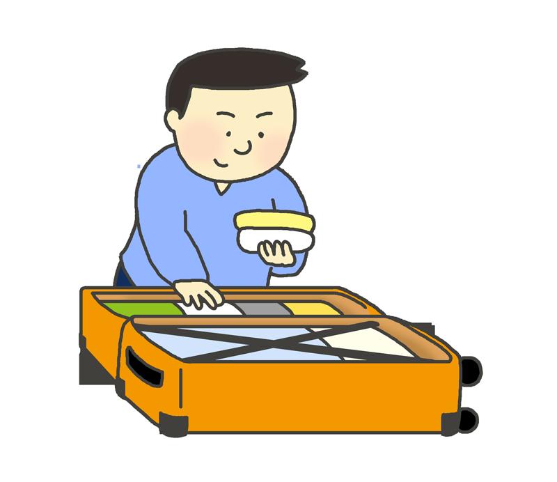 スーツケース(キャリーバッグ)に荷造りする男性のイラスト