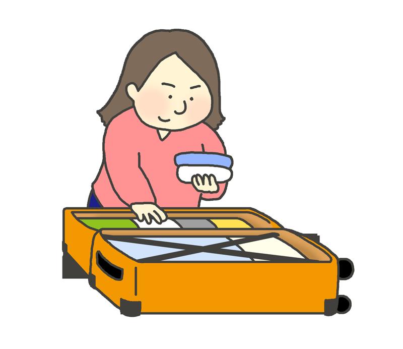 スーツケース(キャリーバッグ)に荷造りする女性のイラスト