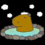 温泉につかるカピバラのイラスト