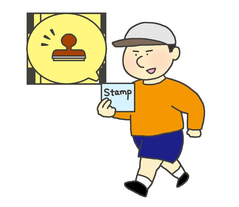スタンプラリーをする男の子のイラスト