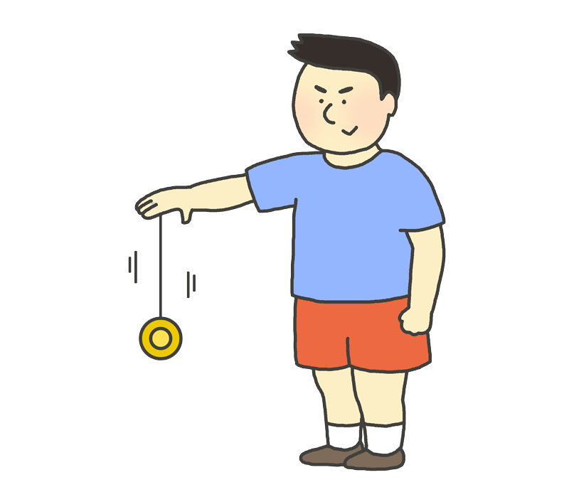 競技用ヨーヨーで遊ぶ男の子のイラスト