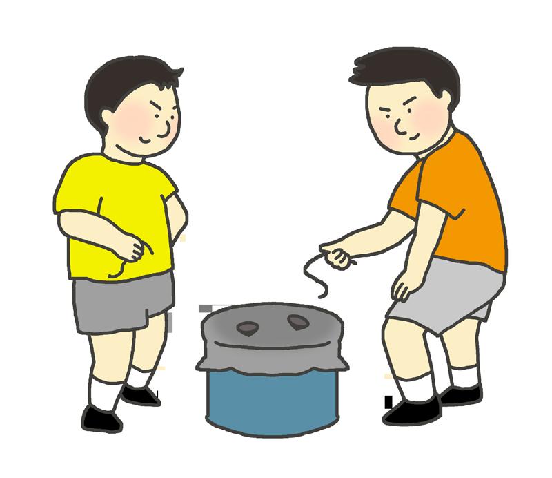 ベーゴマで遊ぶ男の子たちのイラスト