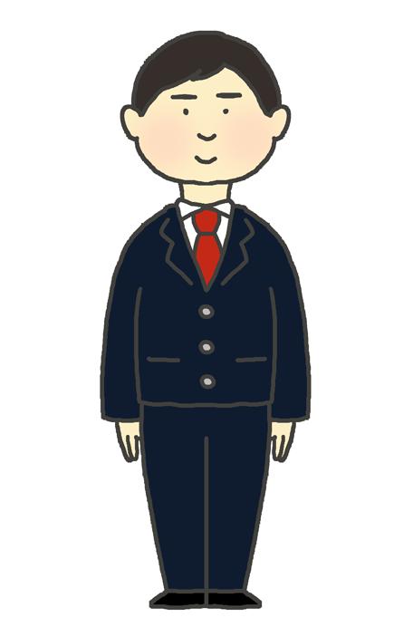 学生服(ブレザー冬服)の男の子のイラスト