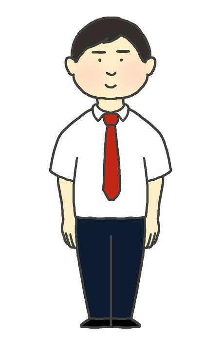 学生服(ブレザー夏服)の男の子のイラスト